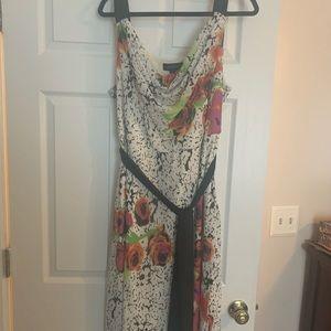 Beautiful flower printed sleeveless white dress
